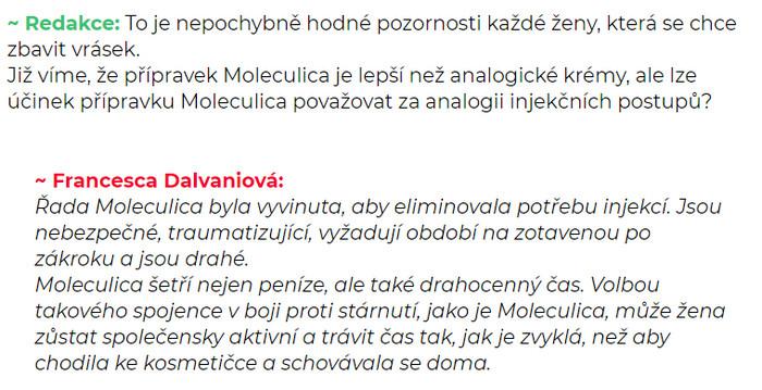Moleculica Česká republika, cena, komentáře, ingredience..